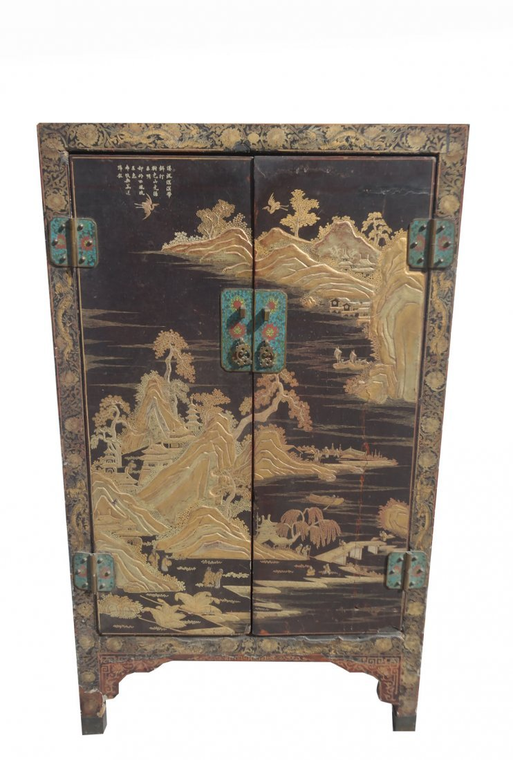 Fine Chinese Gilt Lacquer Qing Dynasty Signed Cabinet