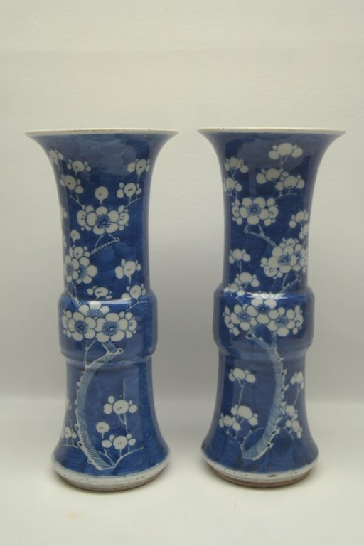 17th C Chinese Kang Hsi Dyn Blue/White Vases