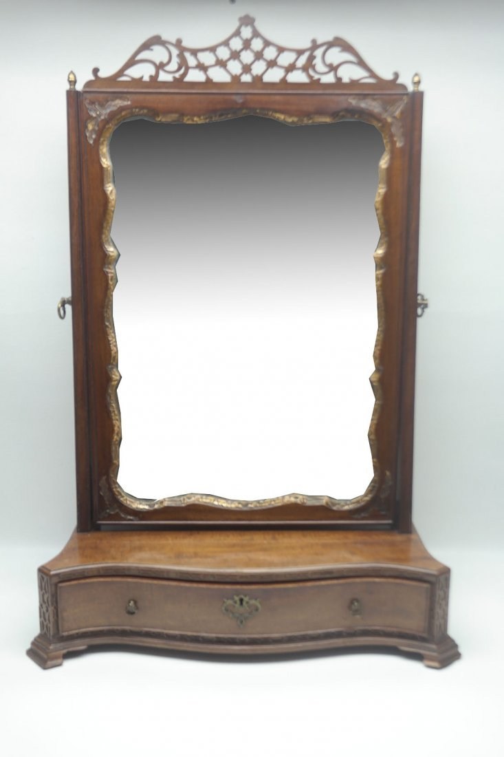 Early 19th C. English Chippendale Dressing Mirror