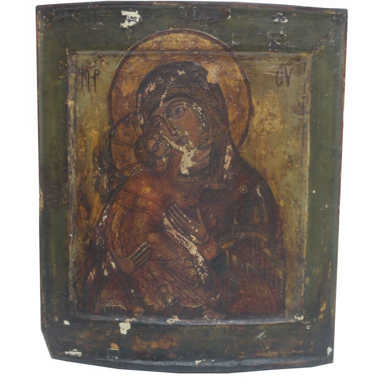 """Madonna and Child"" 16th C Russian Icon"