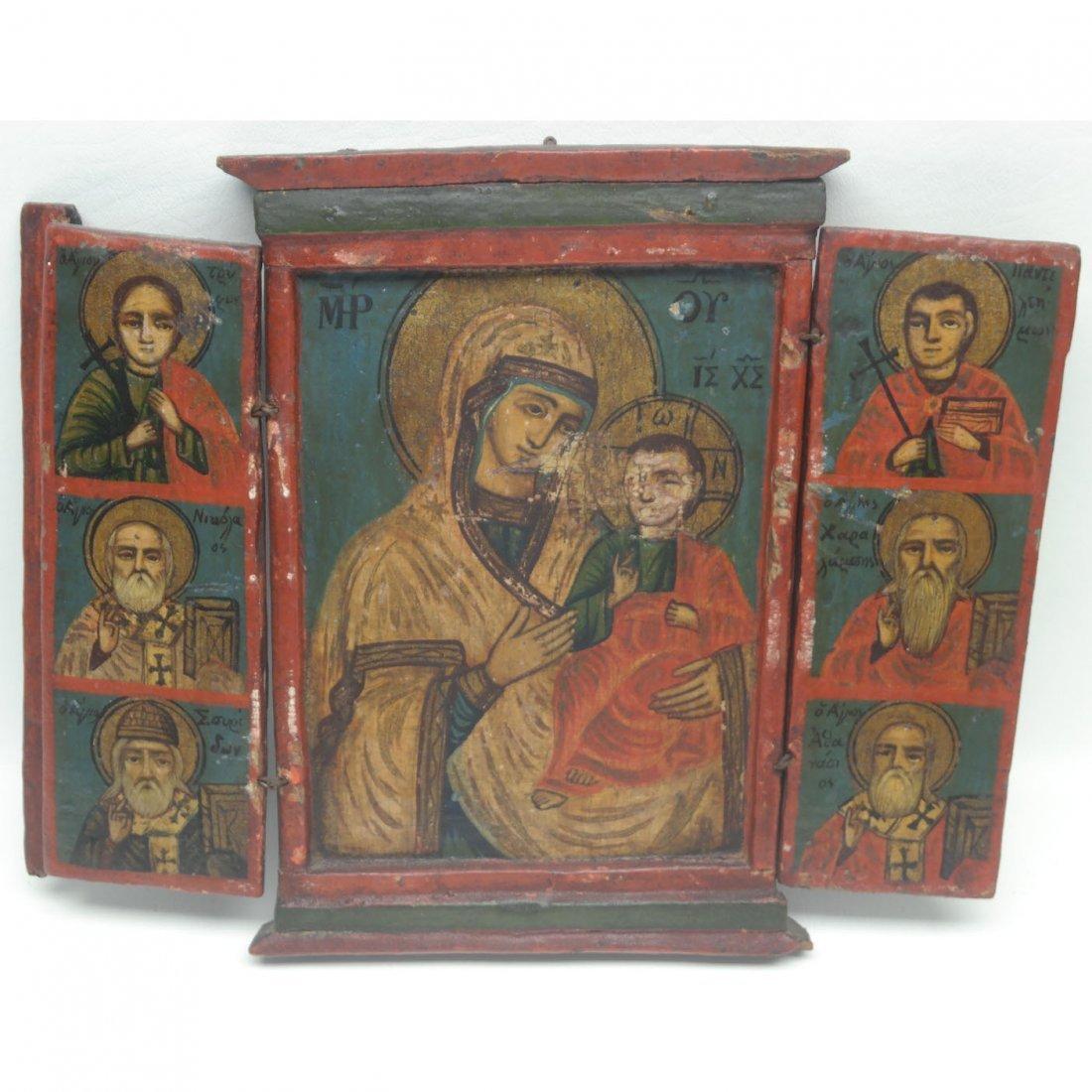 17th C Russian Triptych Icon