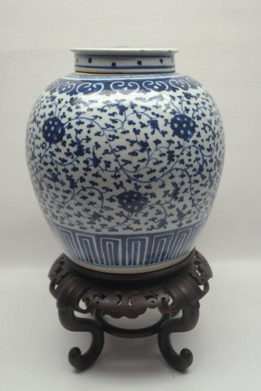 Large 19th C Blue/White Ginger Jar