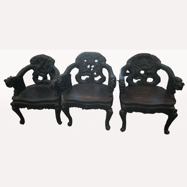 Antique Carved Dragon Chairs
