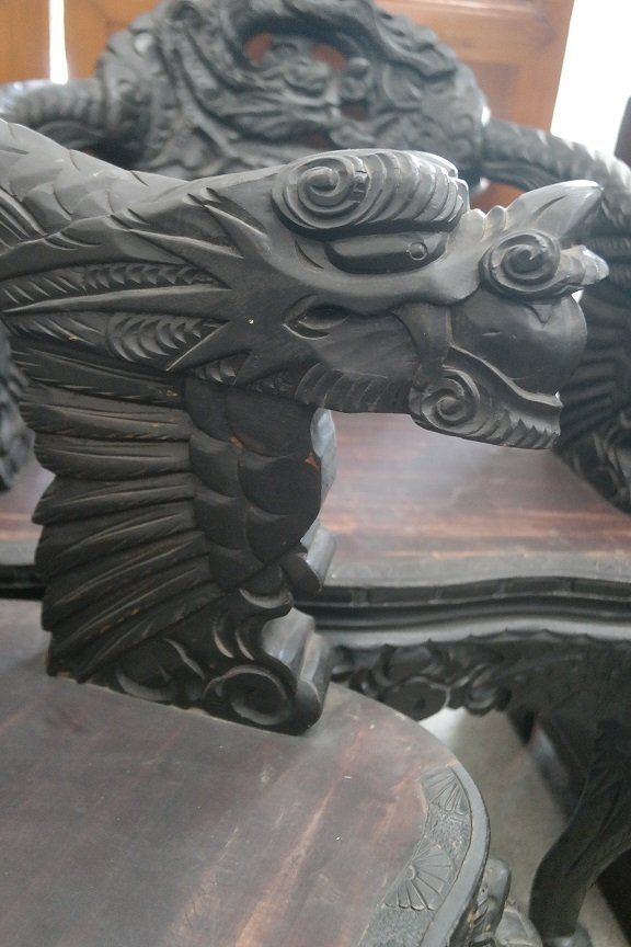 Antique Carved Dragon Chairs - 2