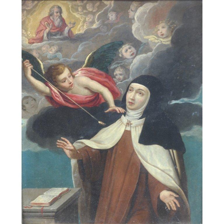 Italian 18th C. 'Transverbacion De Santa Teresa'