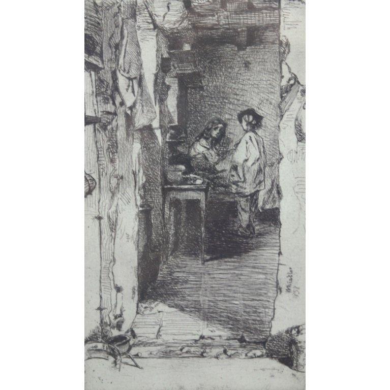 "James Whistler ""Little Rag Gatherers""  Etching"