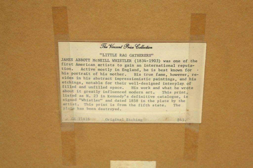 "James Whistler ""Little Rag Gatherers""  Etching - 7"