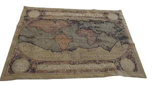 20th C Tapestry of World Map