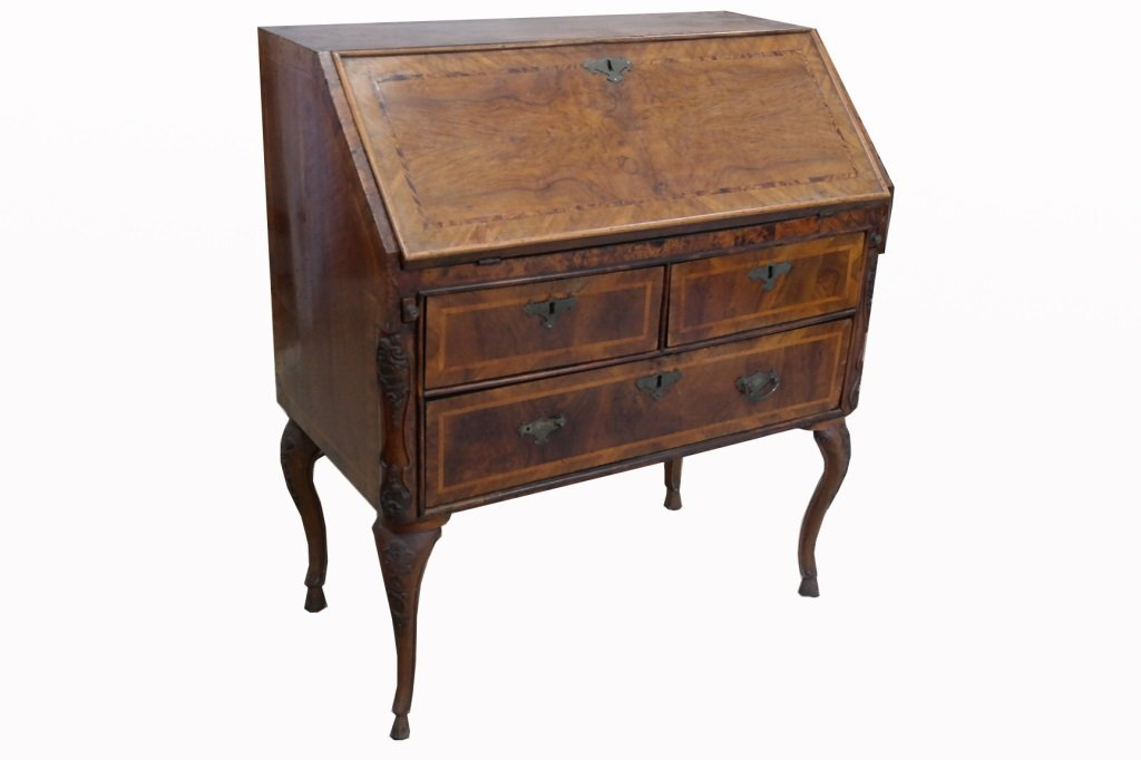 Continental 19th C. Inlaid Fall Front Desk