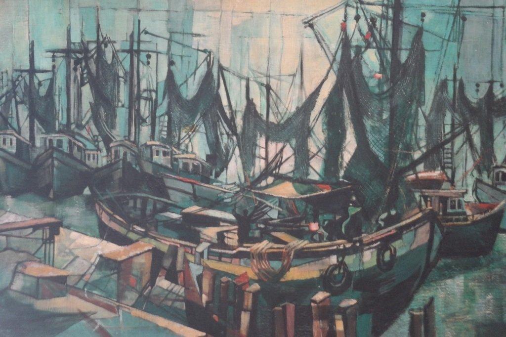"Barbara Neustadt  (1922-) ""Abstract Fishing Fleet"""