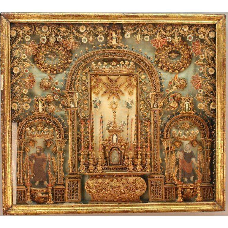 Antique European Religious Devotional Altarpiece