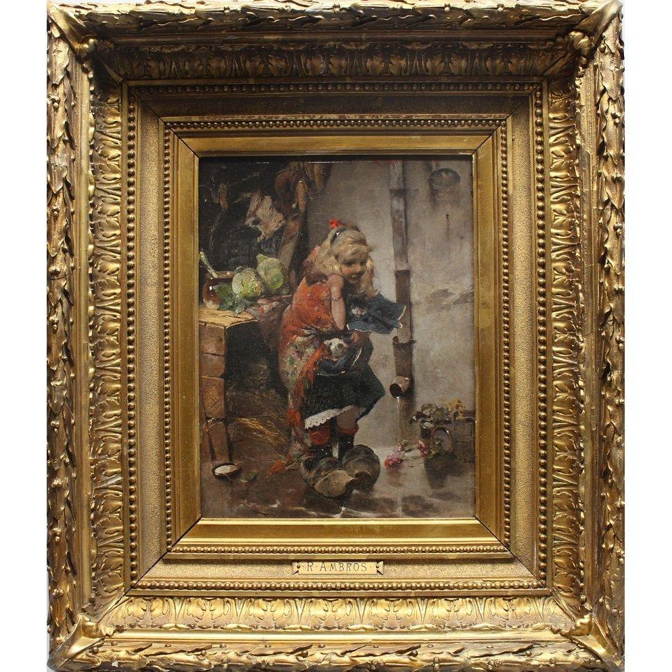 "Raphael Ambros  (1854 - 1895) ""Kitten Seller"""