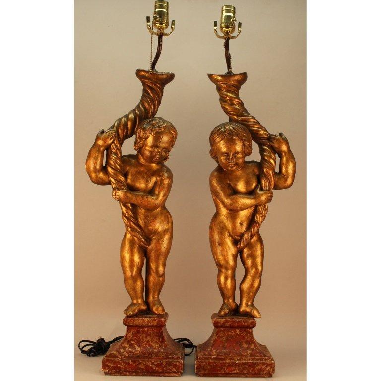 Italian Carved 19th C. Gilt Cherub Lamps