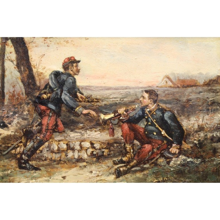 19th C. French Soldiers Oil/Canvas