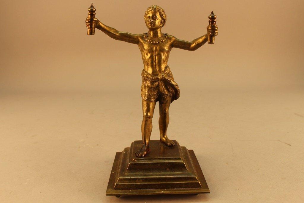 19th C. Gilt Bronze Standing Blackamoor