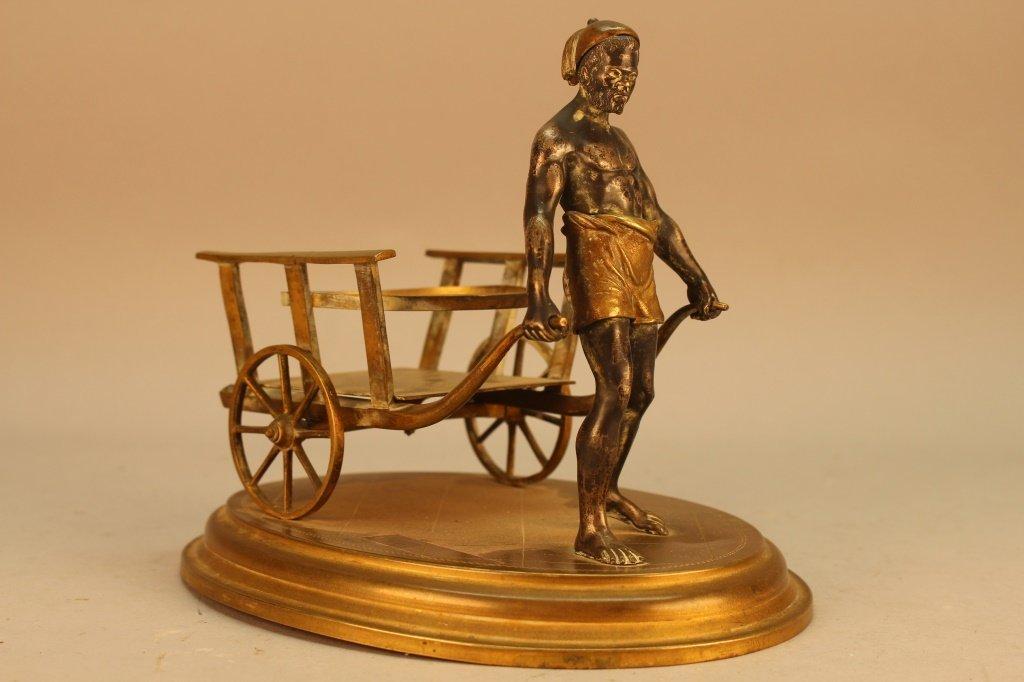 Exceptional Antique Bronze Blackamoor w/ Cart