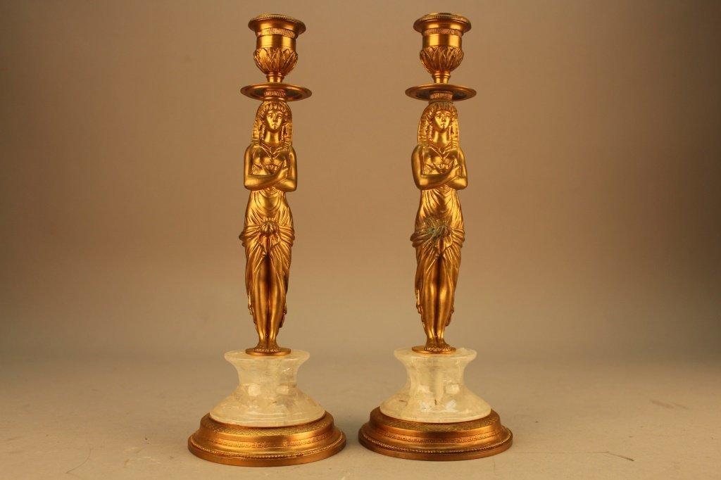 Pair Gilt Rock Crystal Empire Style Candlesticks