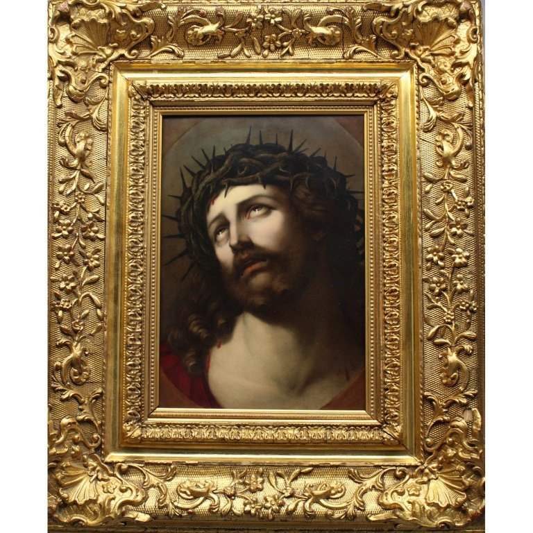 """After Guido Reni """"Head of Christ"""" Large KPM Plaque"""