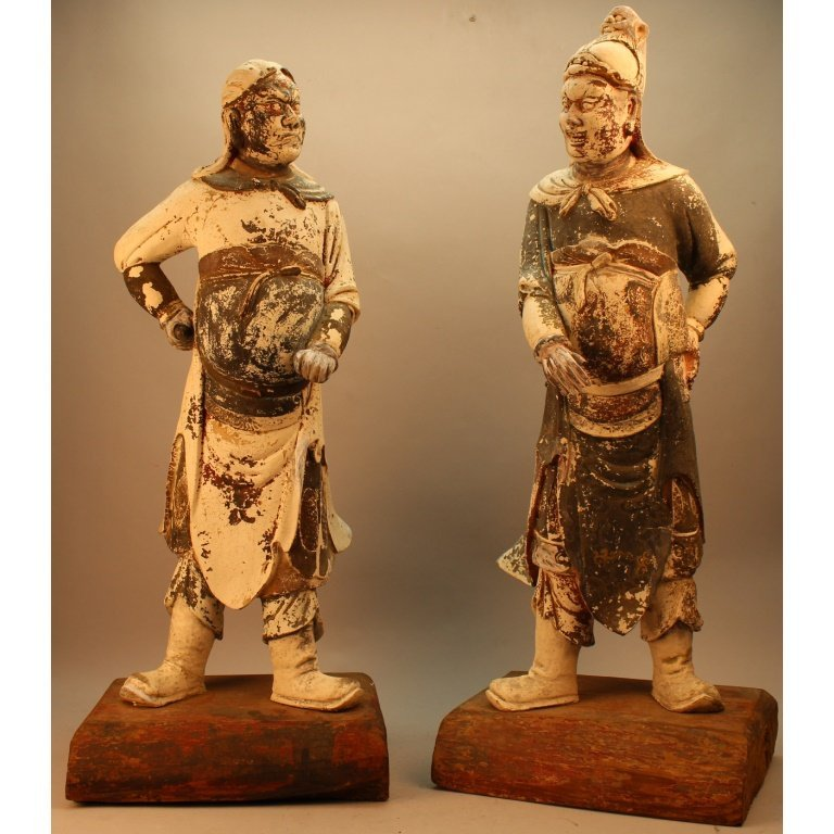 Antique Pair of Tang Dynasty Style Tomb Guardians