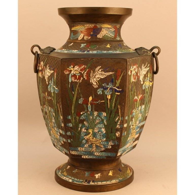 Large 19th C. Japanese Cloisonne Bronze Urn