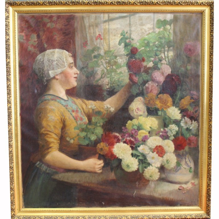 Signed 19th C. French Woman w/ Flowers