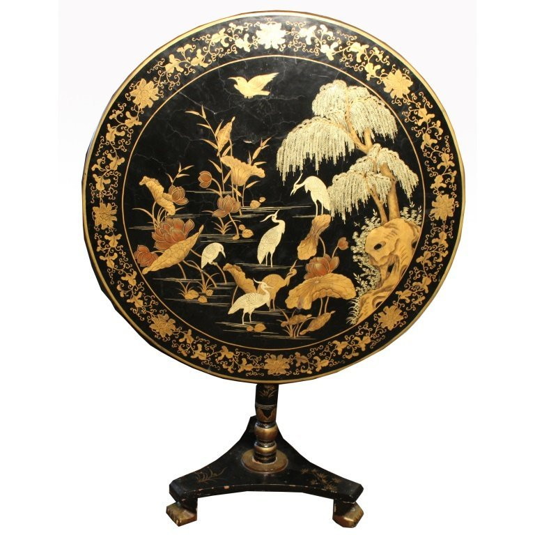 Chinese Export Lacquerware Tilt Top Table