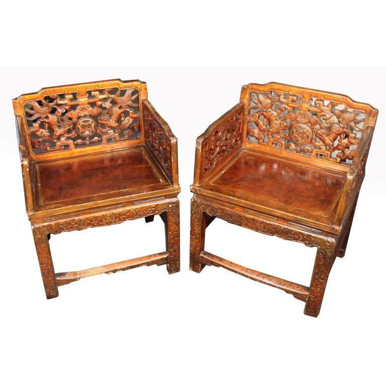 Exceptional Signed 19th C. Chinese Emperor's Chairs