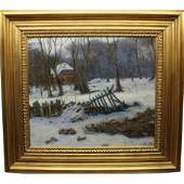 Signed Early 20th C. New England Winter Scene O/C