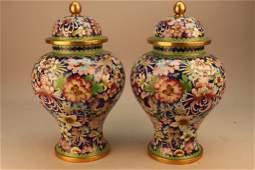 Antique Bronze Chinese Cloisonne Urns