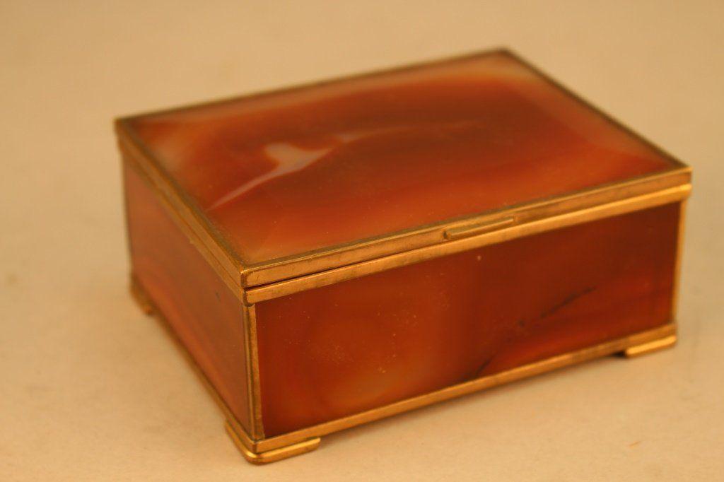 20th C. Agate Jewelry Box w/ Bronze Mounts