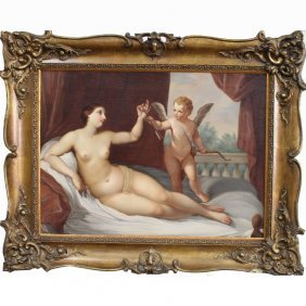 18th C. Italian Venus & Cupid Oil/canvas