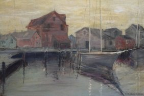 Early 20th C. Signed New England Harbor Scene