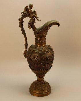 19th Century French Bronze Cherubic Ewer