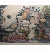 Antique Courier & Ives Landscape, Fruit & Flowers