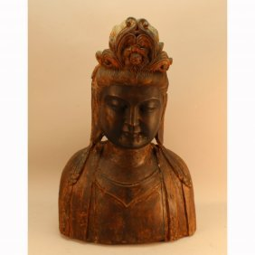 Antique Chinese Carved Guanyin Bust