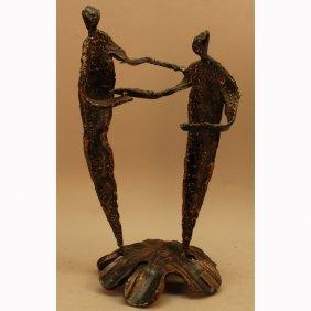 Signed Mid Century Modern Bronze Sculpture