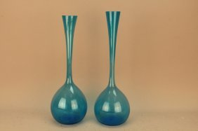 20th C. Hand Blown Italian Blue Glass Vases