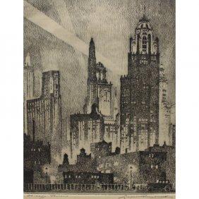 Leonard Pescherit, 1892-1971 Chicago Etching