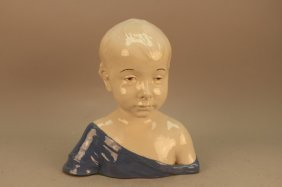 Signed Cantagalli Bust Of A Young Boy