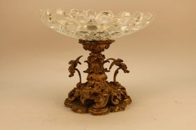 19th C. French Gilt Bronze/crystal Tazza
