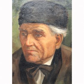19th Century Signed Portrait Of A Man, Oil/canvas