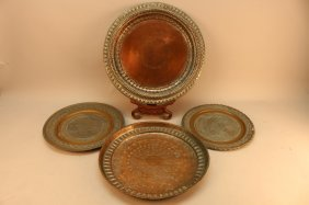 Lot Of 4 Middle Eastern Copper Salvers