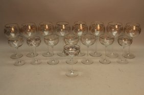 (16) Gold Leaf Glass Goblets