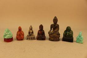 Lot Of 7 Kneeling Buddhas