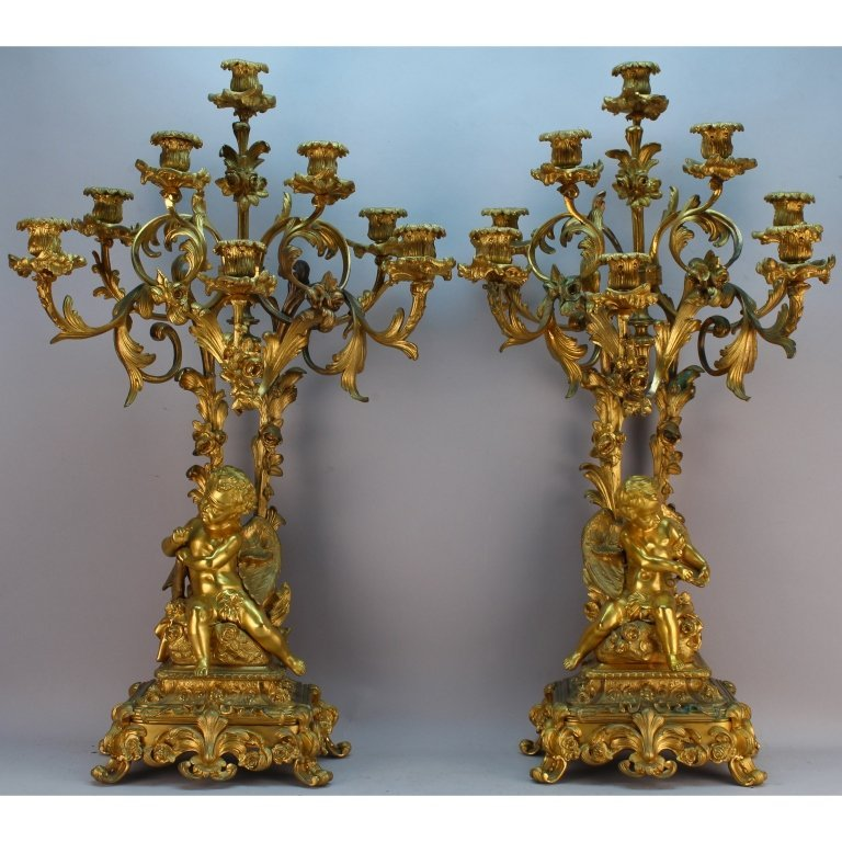 H. Picard 19th C. French Signed Bronze Candelabra