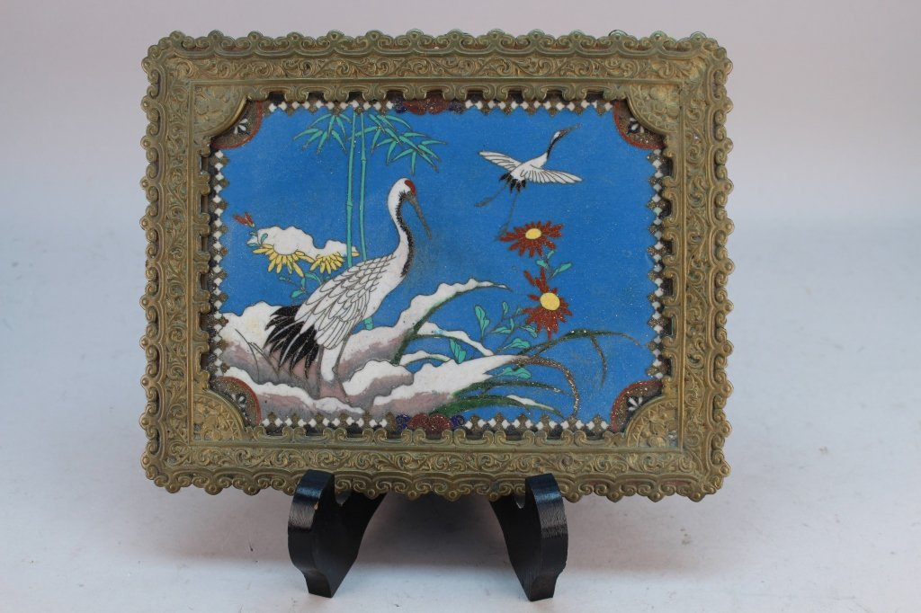 Antique Japanese Footed Cloisonne Tray