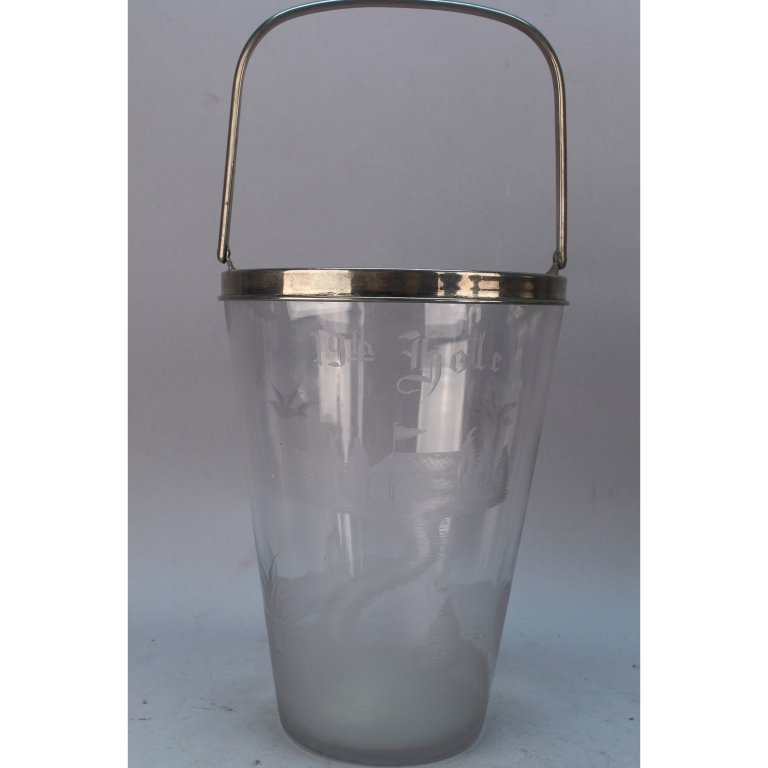 """Hawkes """"19th Hole"""" Etched Glass Champagne Bucket"""