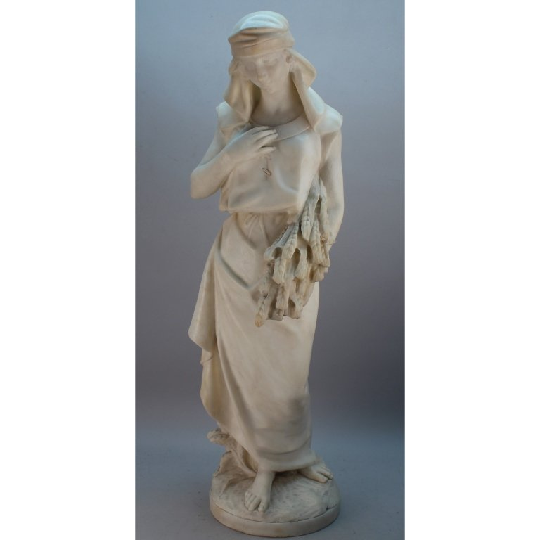 """Large 19th C. Marble Sculpture """"Ruth"""""""
