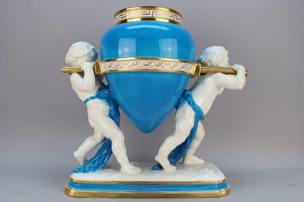 Figural Minton Turquoise Ground Amphora Vase