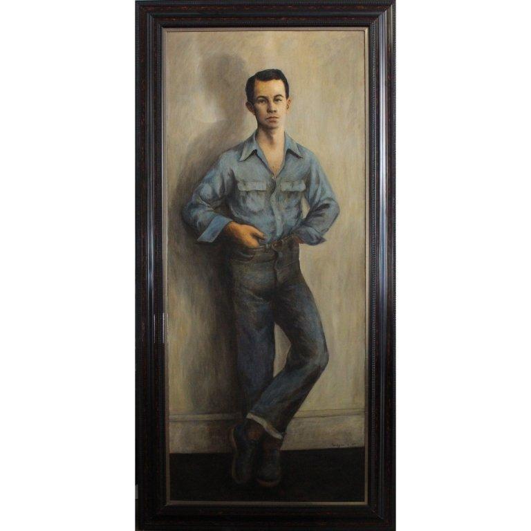 Large 1954 Signed Oil/Canvas Portrait of a Boy